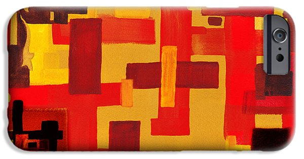 Yellow Line iPhone Cases - Soft Geometrics Abstract In Red And Yellow Impression V iPhone Case by Irina Sztukowski