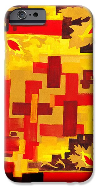 Yellow Line iPhone Cases - Soft Geometrics Abstract In Red And Yellow Impression VI iPhone Case by Irina Sztukowski