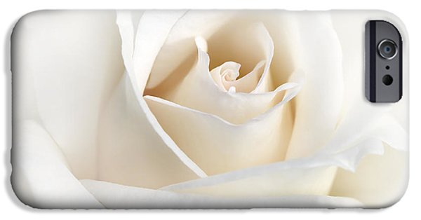 Floral Photographs iPhone Cases - Soft Ivory Rose Flower iPhone Case by Jennie Marie Schell