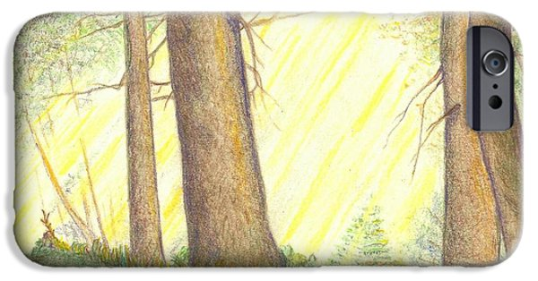 Sun Rays Drawings iPhone Cases - Soft Light iPhone Case by Lew Davis