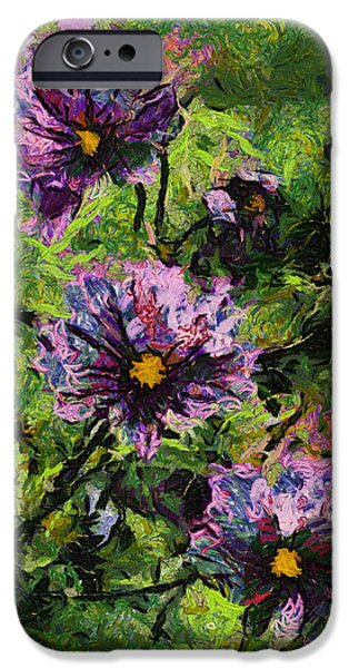 Asymmetrical iPhone Cases - Soft Morning Light On Purple Flowers 04 iPhone Case by Thomas Woolworth