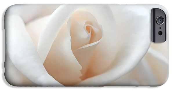 Peach Roses iPhone Cases - Soft Peach Rose Flower iPhone Case by Jennie Marie Schell
