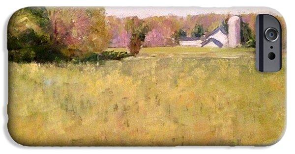 Farm Landscape Pastels iPhone Cases - Soft Spring iPhone Case by Lynda Evans