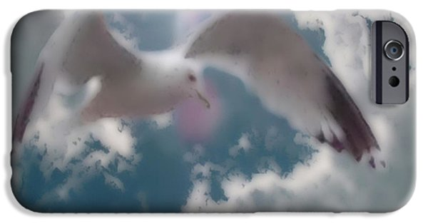 Flying Seagull Mixed Media iPhone Cases - Soft Touch Seagull Fly  iPhone Case by Debra     Vatalaro