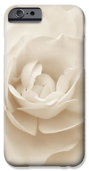Monotone iPhone Cases - Soft Whispers Beige Rose Flower iPhone Case by Jennie Marie Schell