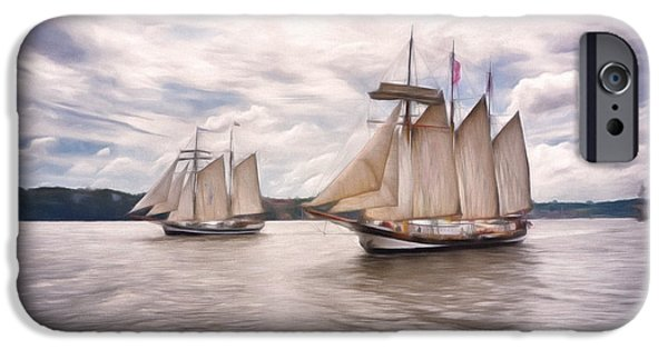 Tall Ship Mixed Media iPhone Cases - Softly Sailing iPhone Case by Georgiana Romanovna