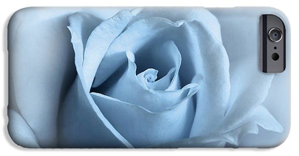 Monotone iPhone Cases - Softness of a Blue Rose Flower iPhone Case by Jennie Marie Schell