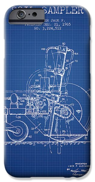 Soil Digital Art iPhone Cases - Soil Sampler Machine patent from 1965 - Blueprint iPhone Case by Aged Pixel