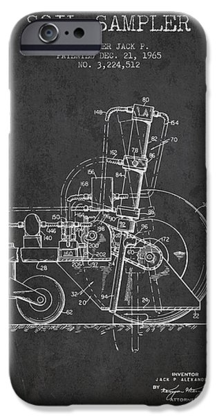 Soil Digital Art iPhone Cases - Soil Sampler Machine patent from 1965 - Dark iPhone Case by Aged Pixel