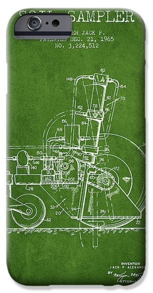 Soil Digital Art iPhone Cases - Soil Sampler Machine patent from 1965 - Green iPhone Case by Aged Pixel