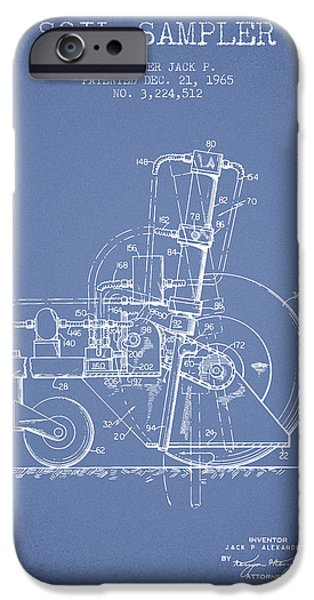 Soil Digital Art iPhone Cases - Soil Sampler Machine patent from 1965 - Light Blue iPhone Case by Aged Pixel