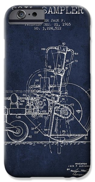 Soil Digital Art iPhone Cases - Soil Sampler Machine patent from 1965 - Navy Blue iPhone Case by Aged Pixel