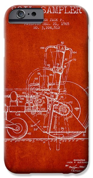 Soil Digital Art iPhone Cases - Soil Sampler Machine patent from 1965 - Red iPhone Case by Aged Pixel