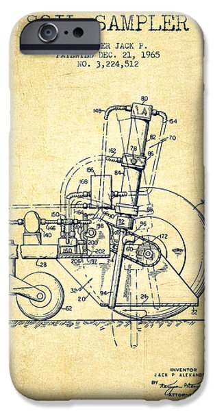 Soil Digital Art iPhone Cases - Soil Sampler Machine patent from 1965 - Vintage iPhone Case by Aged Pixel