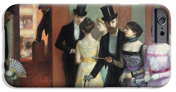 Young Paintings iPhone Cases - Soiree at the Opera iPhone Case by Ernest Rouart
