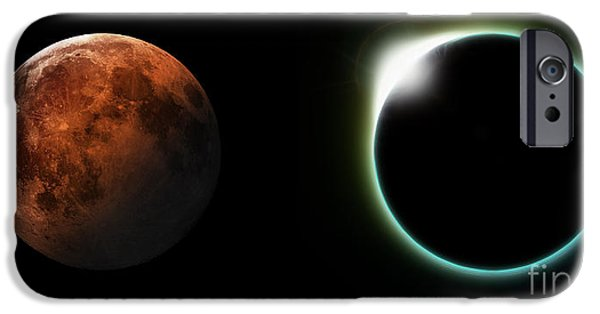 World System iPhone Cases - Solar and Lunar Eclipses iPhone Case by Antony McAulay