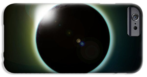 Solar Eclipse Digital iPhone Cases - Solar Eclipse iPhone Case by Antony McAulay