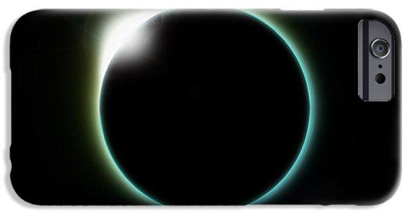 Solar Eclipse Digital iPhone Cases - Solar Eclipse Moon iPhone Case by Antony McAulay