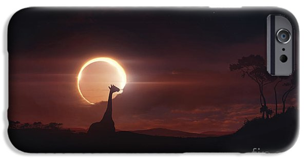 Solar Eclipse Digital iPhone Cases - Solar Eclipse Over Africa iPhone Case by Tobias Roetsch