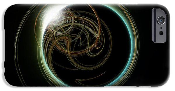 Solar Eclipse Digital iPhone Cases - Solar Eclipse With Fractal iPhone Case by Antony McAulay