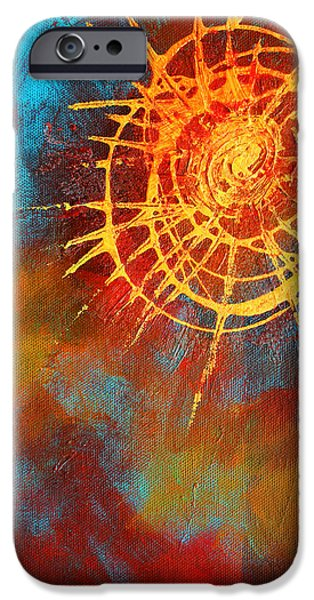 Concept Paintings iPhone Cases - Solar iPhone Case by Nancy Merkle