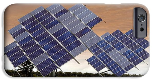 Solar Power iPhone Cases - Solar Panel Arrays On Tracking Bases iPhone Case by Tony Craddock