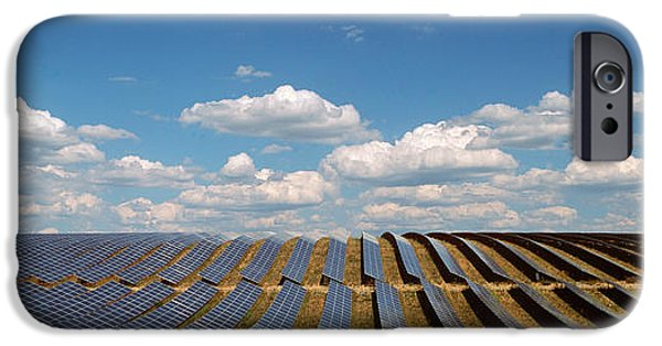 Technology iPhone Cases - Solar Panels In A Field iPhone Case by Panoramic Images