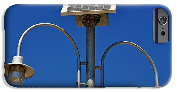 Electrical iPhone Cases - Solar powered lamp post iPhone Case by Luis Alvarenga