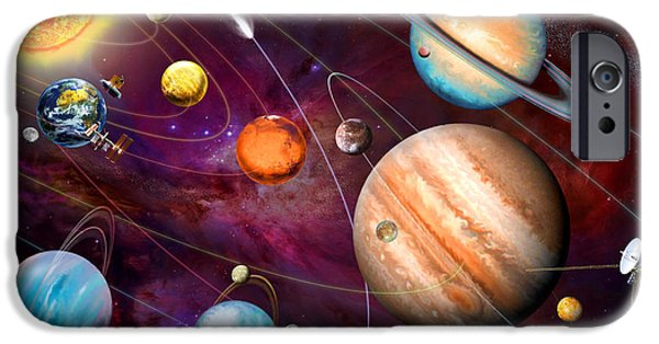 Intergalactic Space iPhone Cases - Solar System 2 iPhone Case by Garry Walton