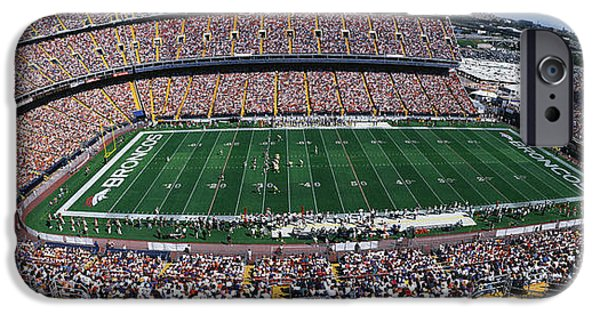 Pastimes iPhone Cases - Sold Out Crowd At Mile High Stadium iPhone Case by Panoramic Images