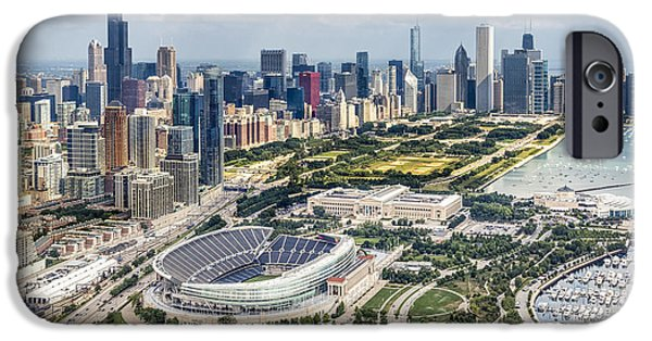 Soldier Field iPhone Cases - Soldier Field and Chicago Skyline iPhone Case by Adam Romanowicz