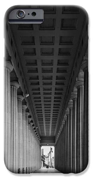 Soldier Field Photographs iPhone Cases - Soldier Field Colonnade Chicago B W B W iPhone Case by Steve Gadomski