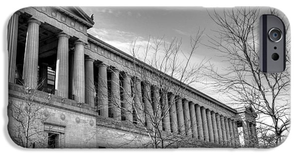 Soldier Field Photographs iPhone Cases - Soldier Field in Black and White iPhone Case by David Bearden