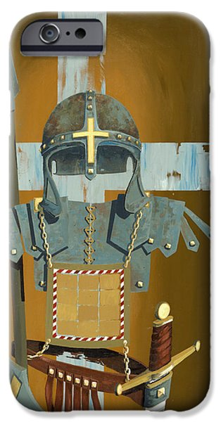 Soldiers iPhone Cases - Soldier for the Cross iPhone Case by John Wyckoff