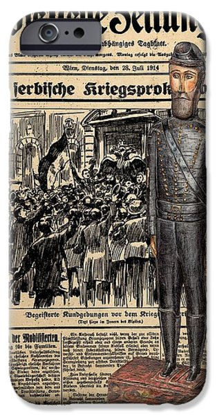 Old Digital Art iPhone Cases - Soldier on Newspaper collage iPhone Case by Vincent Monozlay