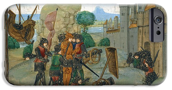 Knighthood iPhone Cases - Soldiers Besieging A Town iPhone Case by British Library