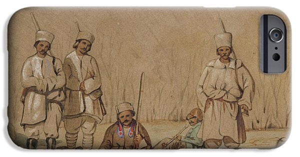 Orientalists Photographs iPhone Cases - Soldiers Relaxing, 1844 Wc & Gouache On Paper iPhone Case by Georges de Bellio