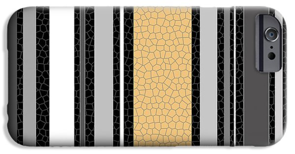 Asymmetrical iPhone Cases - Solid Tiled Stripes Grey Black White Butter Yellow iPhone Case by Jocelyn Ball