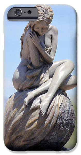Nudes Sculptures iPhone Cases - Solitaire Bronze Sculpture iPhone Case by J Anne Butler
