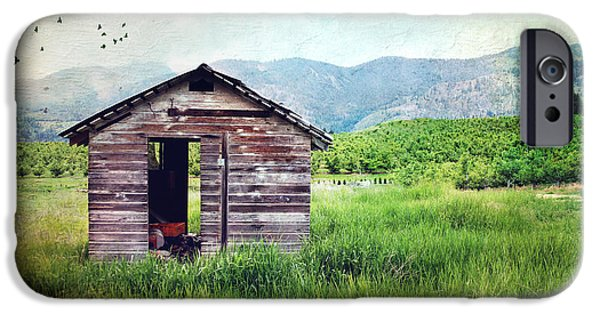Mountain Cabin iPhone Cases - Solitary cabin iPhone Case by Sylvia Cook