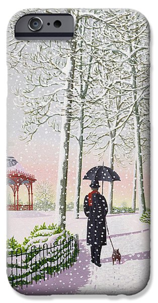 Bandstand iPhone Cases - Solitary Stroll iPhone Case by Peter Szumowski