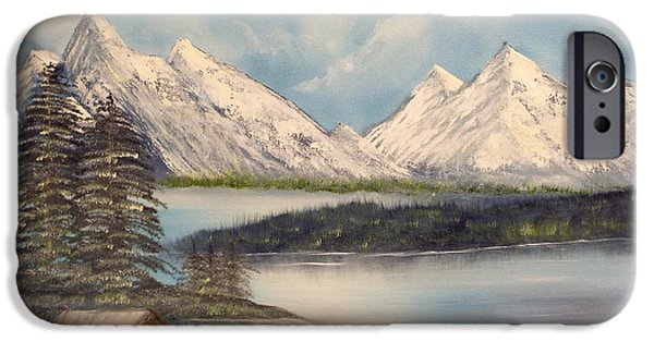 Bob Ross Paintings iPhone Cases - Solitude at the Lake iPhone Case by Joyce Krenson