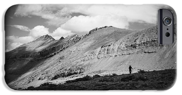 United Pyrography iPhone Cases - Solitude below Sperry Glacier iPhone Case by Alex Blondeau