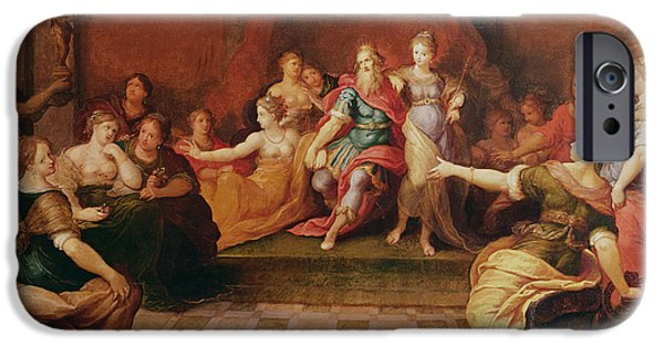 Harem Photographs iPhone Cases - Solomon And His Women Oil On Canvas iPhone Case by Frans II the Younger Francken