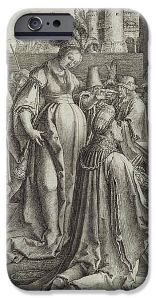 Robe Drawings iPhone Cases - Solomon Prays in front of a Graven Image iPhone Case by Lucas van Leyden