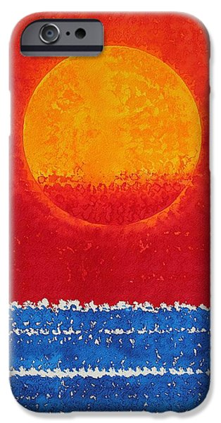 Printmaking iPhone Cases - Solstice Sunrise original painting SOLD iPhone Case by Sol Luckman