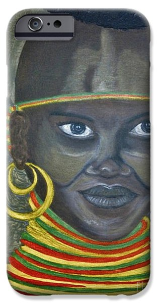 Paiting iPhone Cases - Somali young girl iPhone Case by Bozena Simeth