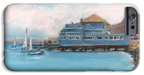 Sausalito Pastels iPhone Cases - Somas Restaurant  iPhone Case by Hilda Vandergriff