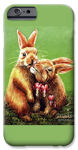 Couple iPhone Cases - Some Bunny Loves You iPhone Case by Linda Simon