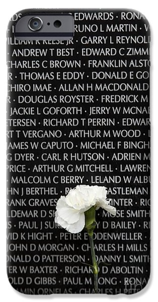 Armed Services iPhone Cases - Some Gave All - Vietnam Veterans Memorial iPhone Case by Edward Fielding